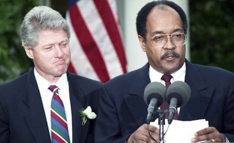 U.S. President Bill Clinton appoints William Gray as special advisor on Haiti in Washington U.S. President Bill Clinton (L) listens as William Gray, his appointee as the new special advisor on Haiti, speaks at the White House in Washington on May 8, 1994.