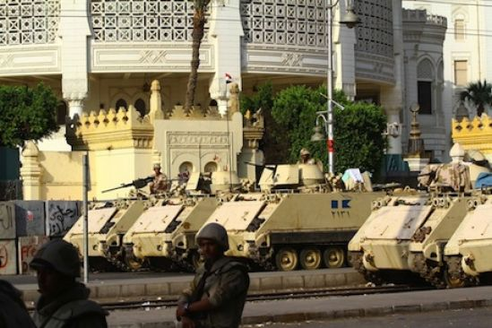 Egyptian military vehicles stationed in main square